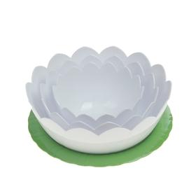"Набор салатников ""Лотос"", 4 шт: тарелка d=22 см, салатники 0,6 л, 1,2 л, 2 л"