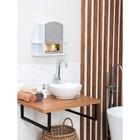 """Шкафчик зеркальный для ванной комнаты """"Орион"""", белый мрамор"""