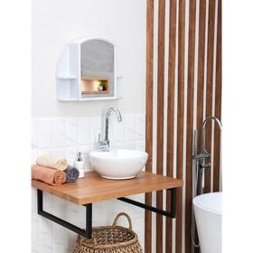 Шкафчик зеркальный для ванной комнаты 'Орион', белый мрамор Ош