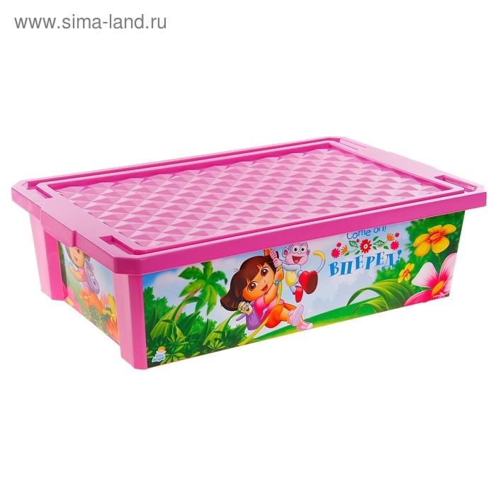 """Ящик для игрушек на колесах """"Даша Путешественница"""" 30 л, с крышкой, цвет розовый"""