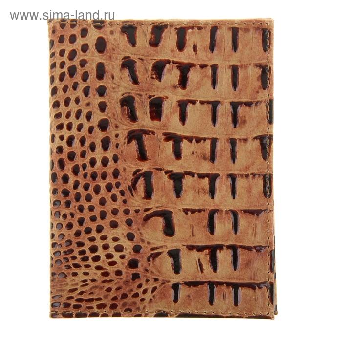 Обложка для автодокументов, 4 отдела для карт, коричневый кайман