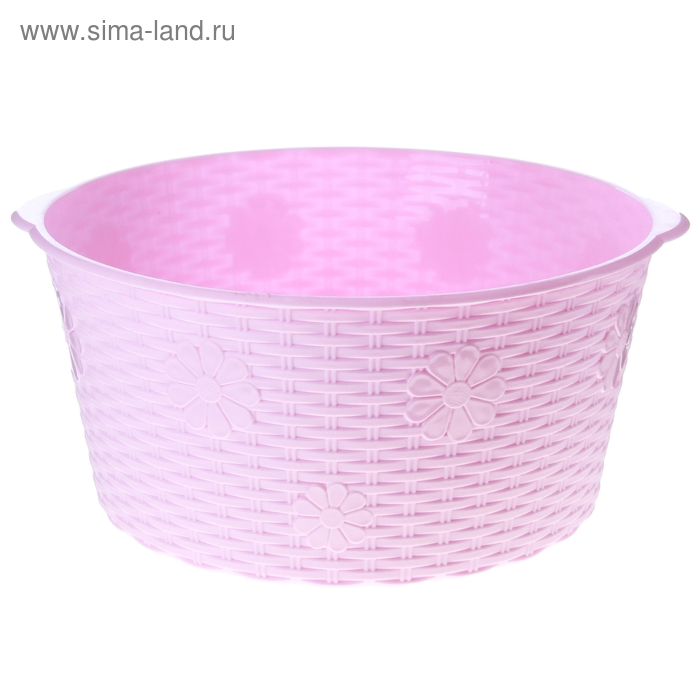 "Таз 20 л ""Плетёнка"", цвет розовый"