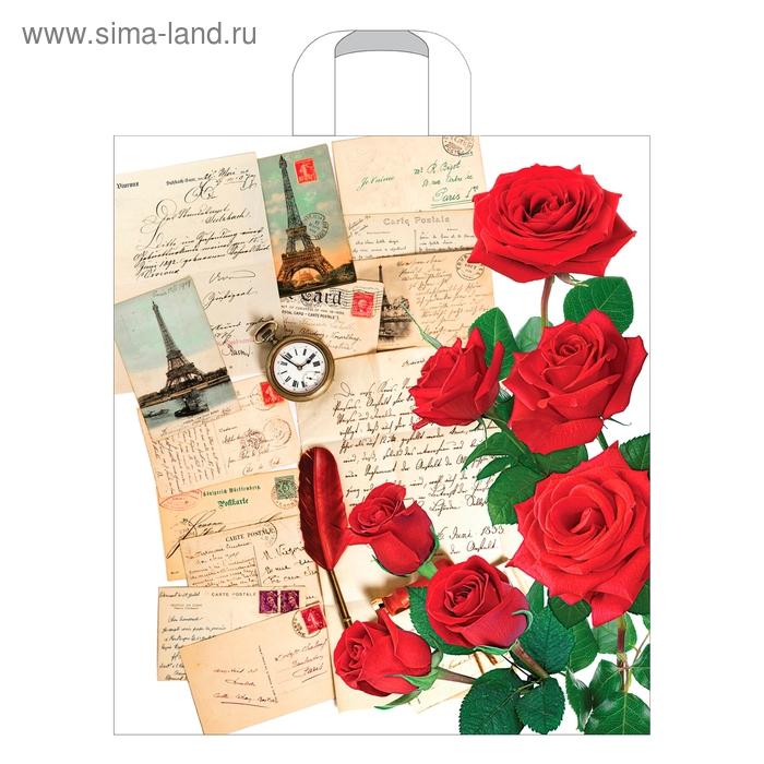 """Пакет """"Письмо из Парижа"""" полиэтиленовый, с петлевой ручкой, 38х45 см, 45 мкм"""