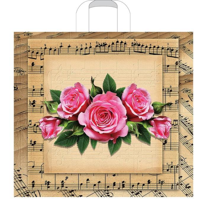 """Пакет """"Мелодия роз"""", полиэтиленовый с петлевой ручкой, 40 х 36 см, 70 мкм"""