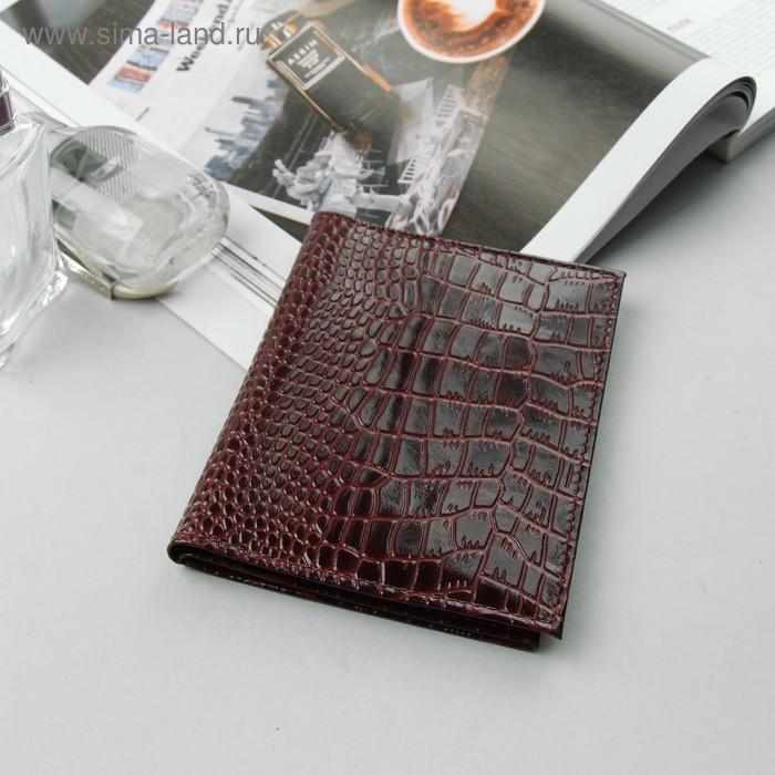 Обложка для автодокументов и паспорта, бордовый крокодил