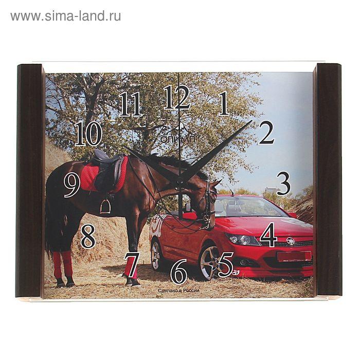 """Часы настенные прямоугольные """"Олимп"""" конь, авто"""