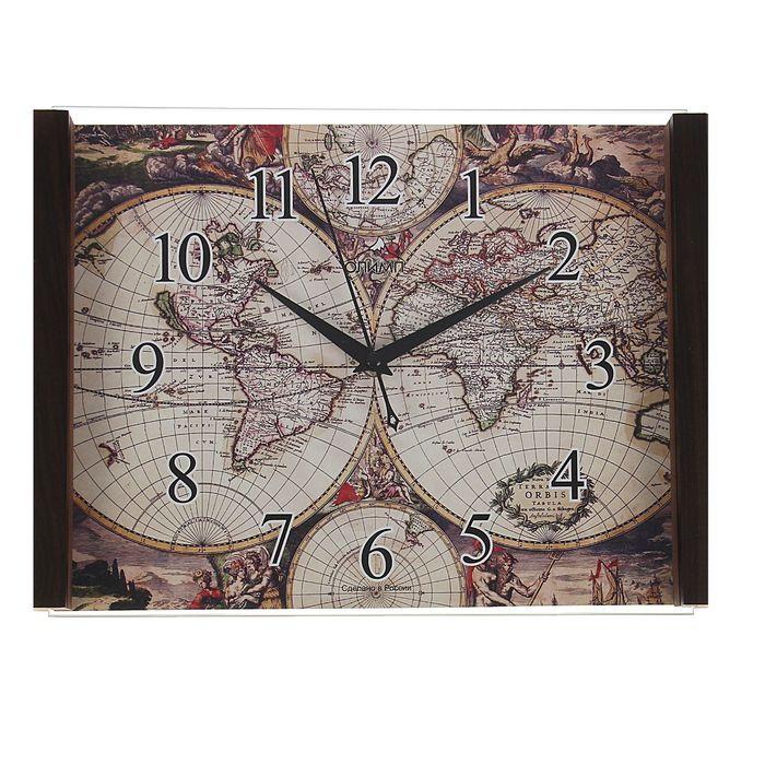 """Часы настенные прямоугольные """"Олимп"""" карта мира"""