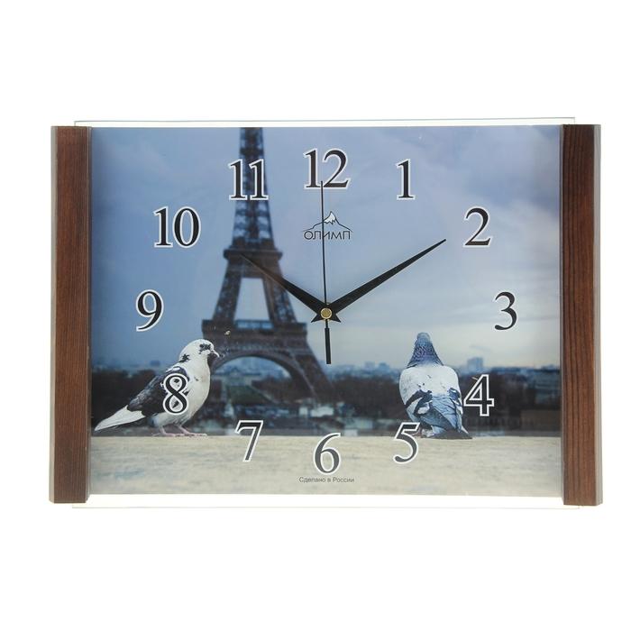"""Часы настенные прямоугольные """"Олимп"""" голуби"""