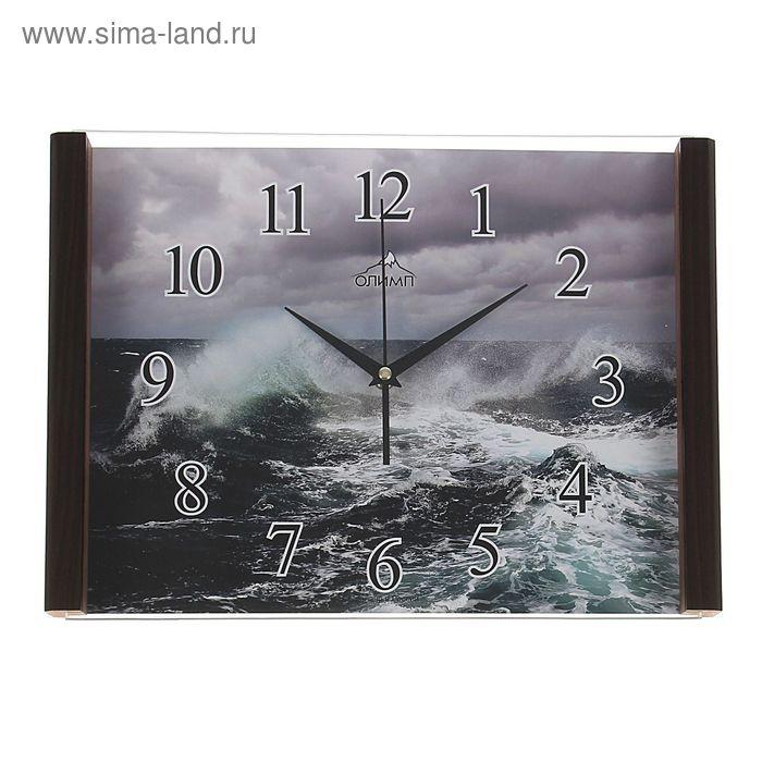 """Часы настенные прямоугольные """"Олимп"""" волна"""