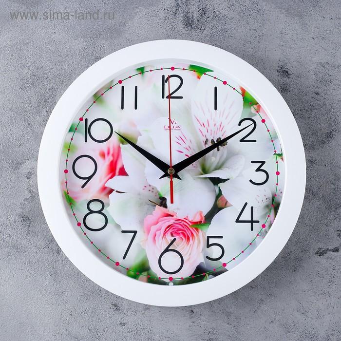 """Часы настенные круглые """"Цветы"""" белые"""