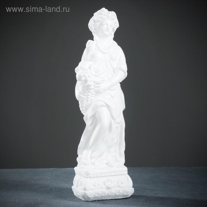 """Статуэтка """"Девушка с корзиной"""" малая белая"""