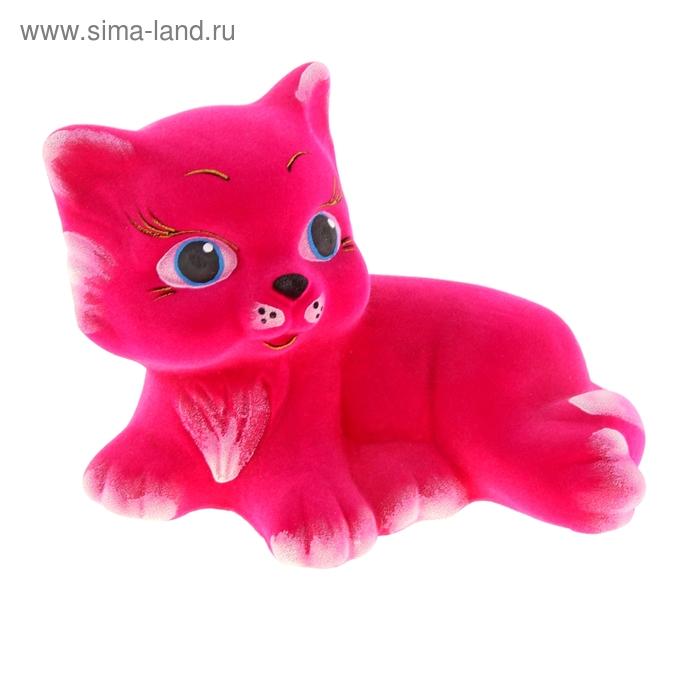 """Копилка """"Котёнок"""" розовая, флок"""