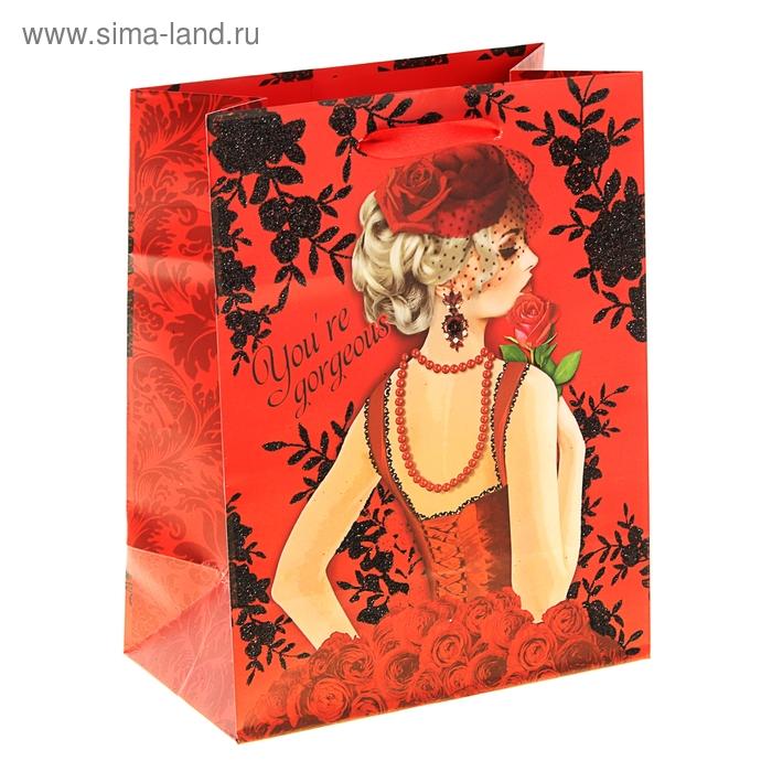 Пакет ламинат с блёстками Red woman, MS 18 х 23 х 8 см
