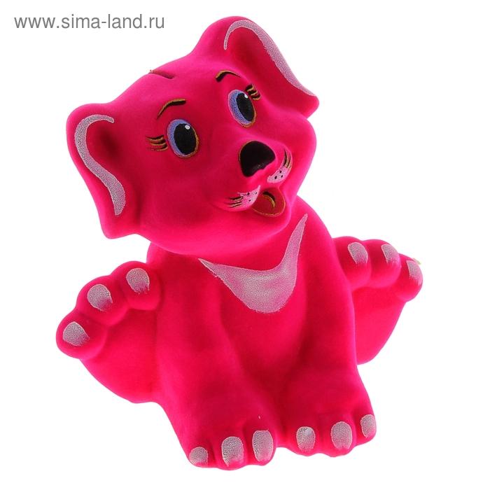 """Копилка """"Щенок"""" флок, розовая"""