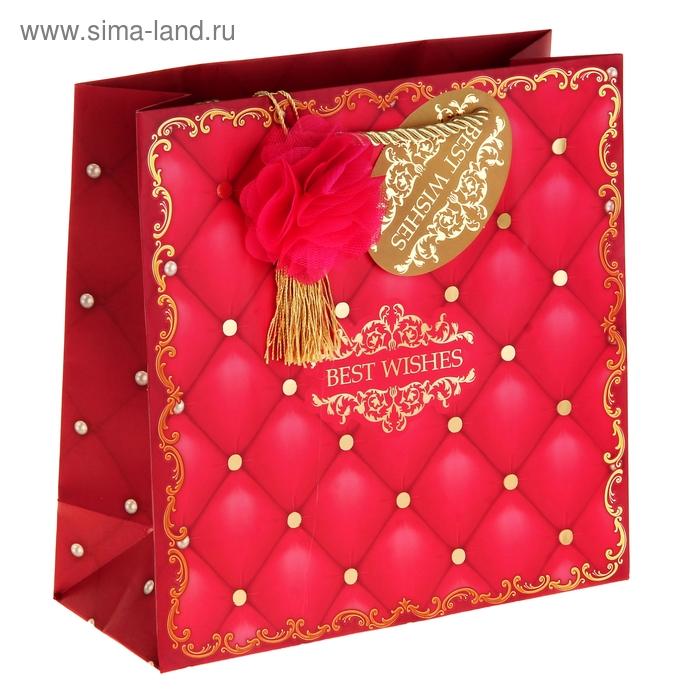 """Пакет подарочный """"С наилучшими пожеланиями"""" (тиснение)"""