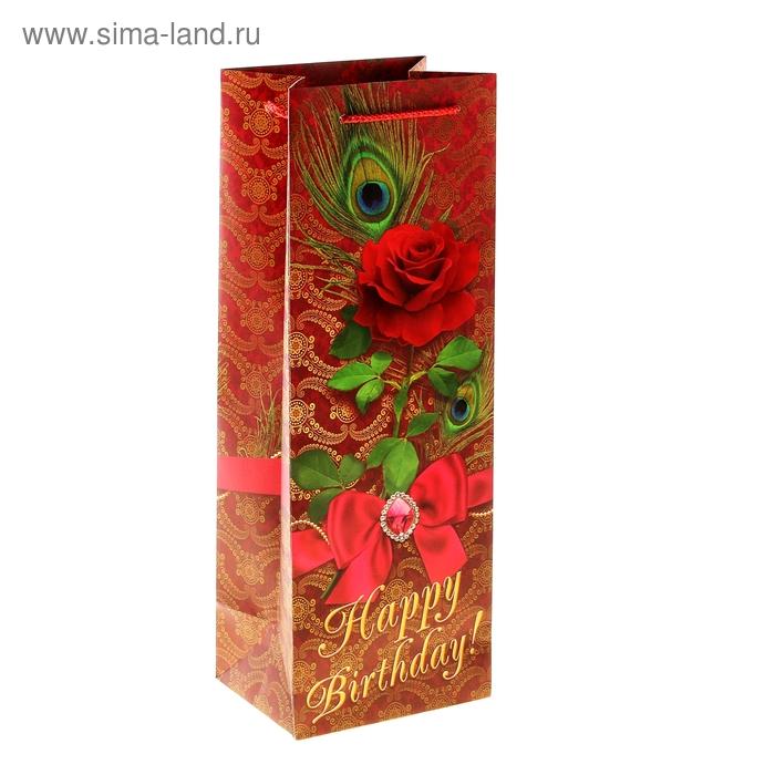 Пакет под бутылку ламинат Red rose, 13 х 36 см