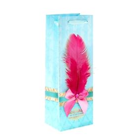 Пакет ламинат под бутылку с тиснением «От всей души», 13 х 36 см