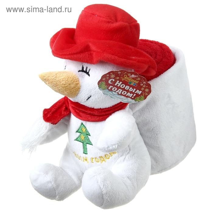 """Набор подарочный Этелька 2 предмета """"Новый год Снеговик-рюкзак"""", плед 75х100 см, корал-флис, красный"""