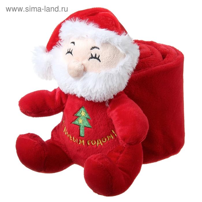"""Набор подарочный Этелька """"Новый год Санта-рюкзак"""", плед 75х100 см, корал-флис, красный"""