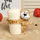 """Набор подарочный для новорождённых """"Этелька"""" 2 пр Леопард, плед белый, размер 75х100 см"""