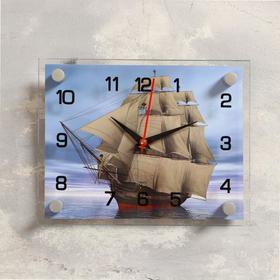 Часы настенные 'Корабль' стекло 20х26 см микс Ош