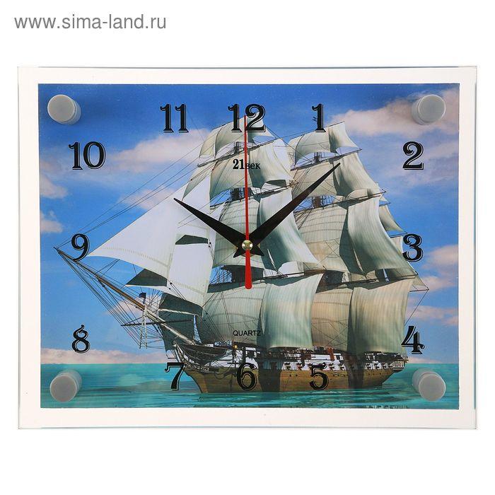 """Часы настенные прямоугольные """"Корабль"""" стекло 20х26 см микс"""