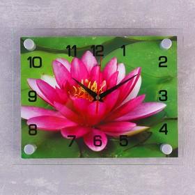 Часы настенные прямоугольные 'Розовый лотос', 20х26 см микс Ош