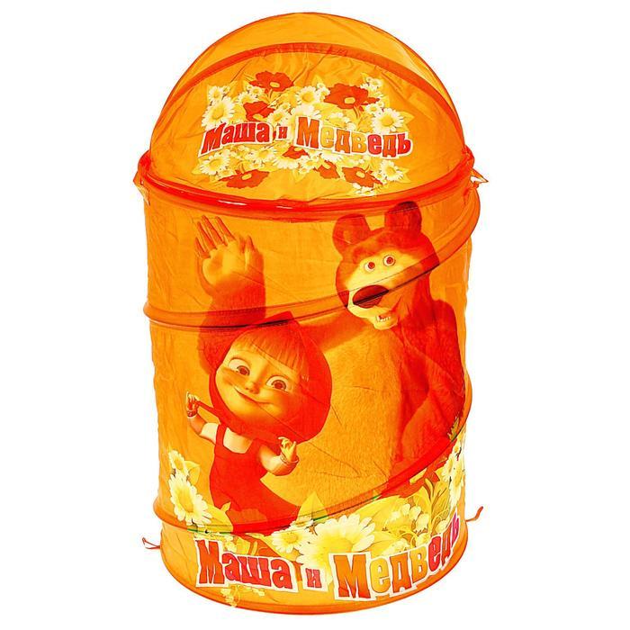 """Корзина для игрушек """"Маша и Медведь"""" с крышкой и ручками, цвет оранжевый"""
