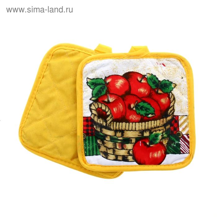 """Кухонный набор Collorista """"Корзинка яблок"""", 2 предмета: прихватка 17*17 см - 2 шт, 100% хлопок"""