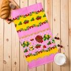 """Полотенце вафельное набивное """"Клубника"""", размер 40х75 см, 160 г/м², цвет розовый"""