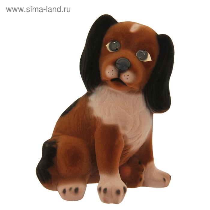 """Копилка """"Собака Малыш"""" флок, коричневая"""