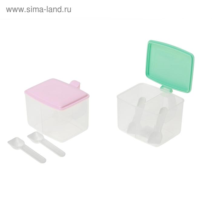 """Емкость для сыпучих продуктов """"Простота"""", 2 секции с ложками, цвета МИКС"""