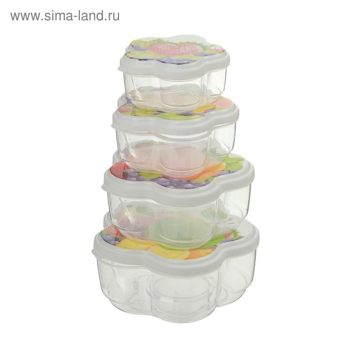 """Набор пищевых контейнеров с крышками """"Фрукты"""", 4 шт: 0,15 л; 0,3 л; 0,4 л; 0,6 л"""