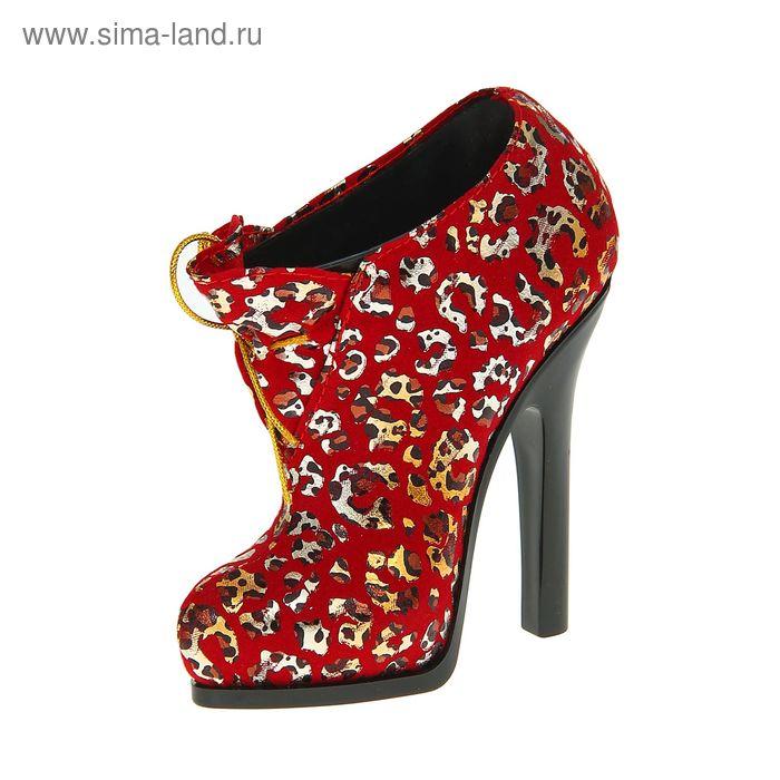 """Подставка для кистей """"Туфелька"""", цвет красный леопард"""