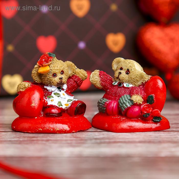 """Сувенир """"Мишка в кофточке на сердечке"""", МИКС"""