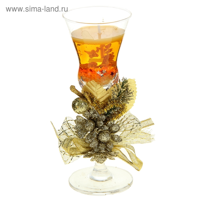 "Свеча гелевая ""Три цветка"", цвет золото"