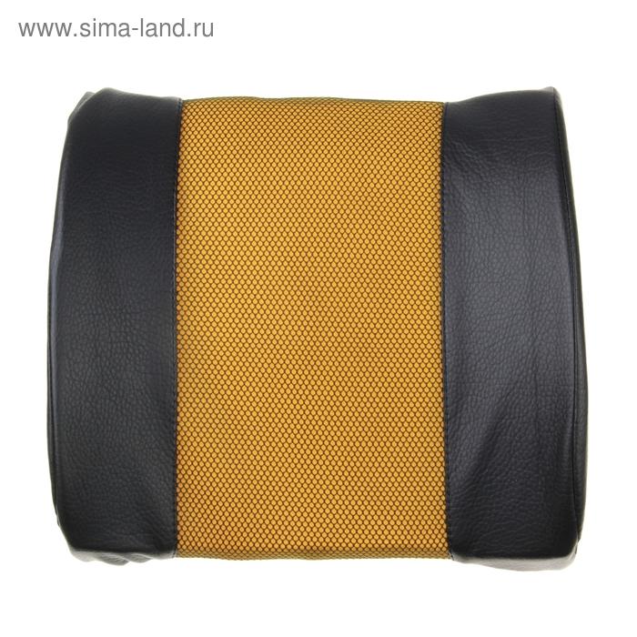 Ортопедическая подушка для поясницы на спинку сиденья черная кож.зам и желтая вставка