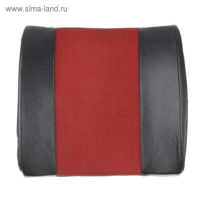 Ортопедическая подушка для поясницы на спинку сиденья черная кож.зам и красная вставка