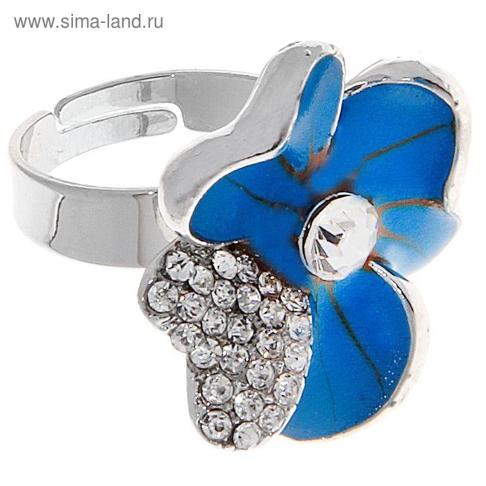 """Кольцо """"Цветок влюбленный"""", цвет синий в серебре, безразмерное"""