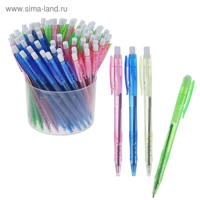 Ручка шариковая автоматическая тонированный корпус с блестками МИКС стержень синий