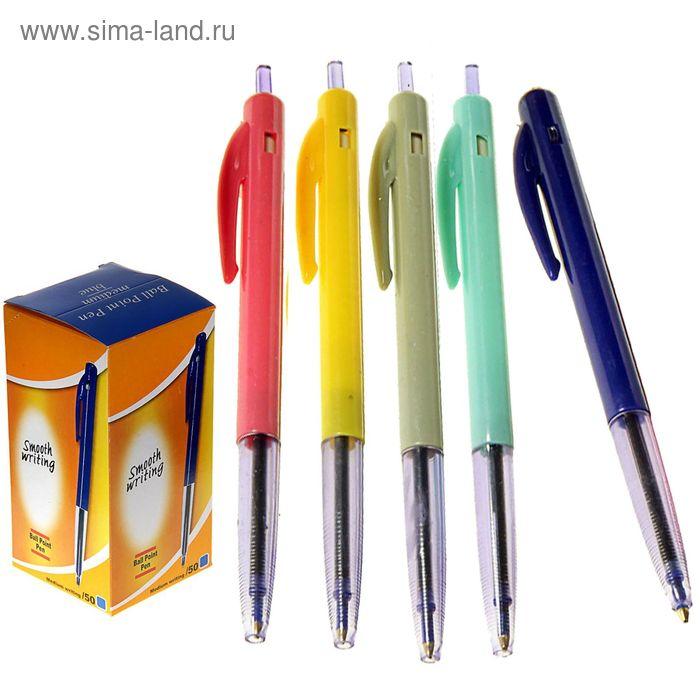 Ручка шариковая автоматическая корпус цветной, прозрачный держатель МИКС стержень синий