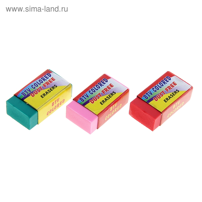 Ластик прямоугольный ERASERS Флюор в бумажном держателе МИКС