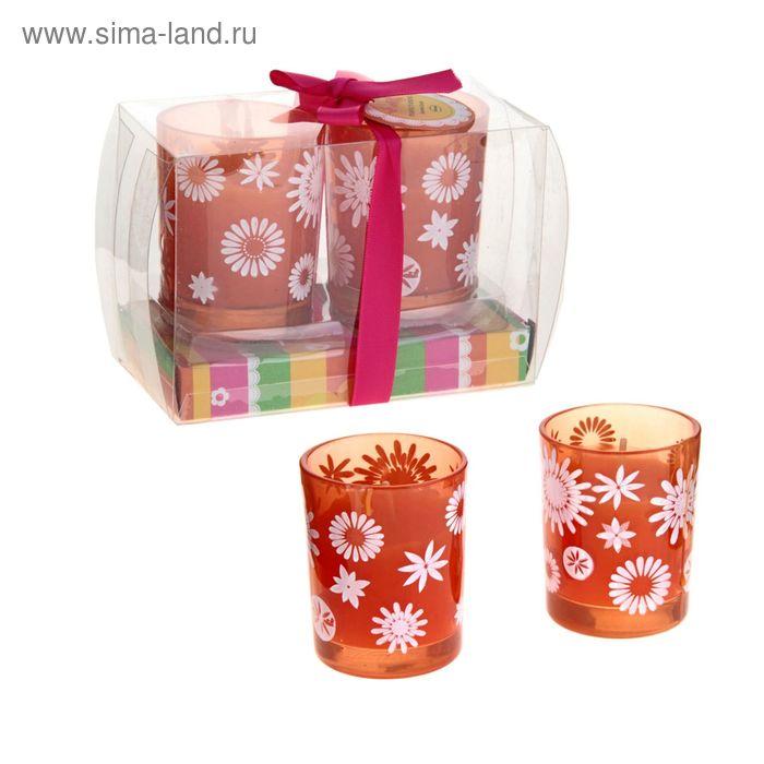 """Свечи восковые (набор 2 шт) """"Цветочки"""", цвет оранжевый"""