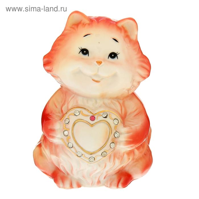 "Копилка ""Котишка с сердцем"" со стразами"