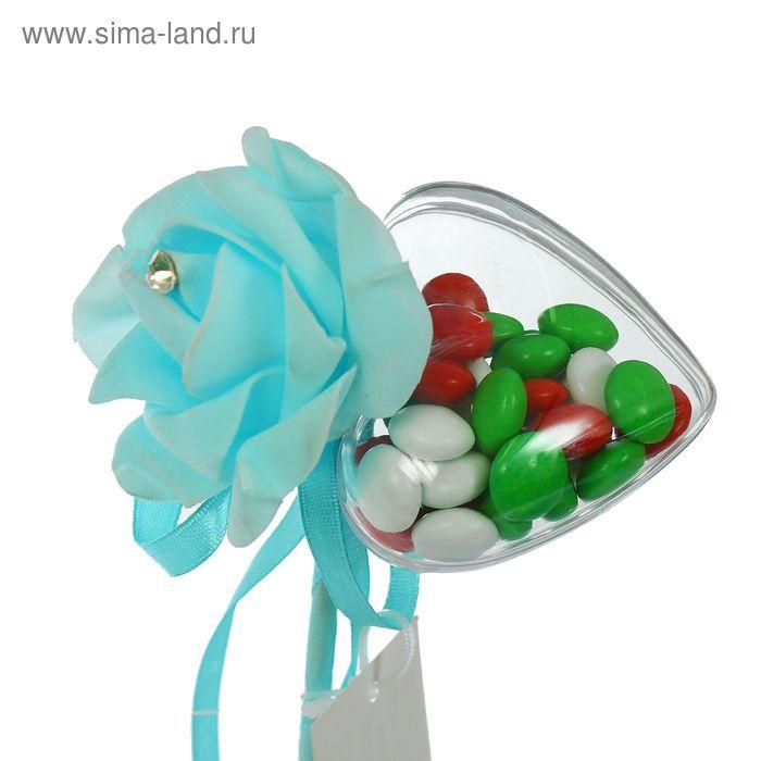 Сюрприз на палочке для букетов с сердечком цвет голубой
