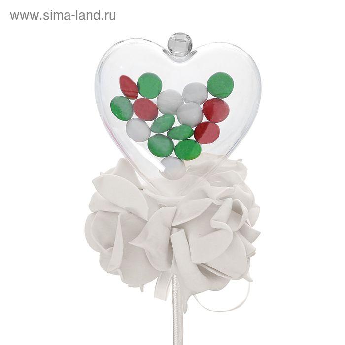 Цветок на палочке для букетов с сердечком цвет белый