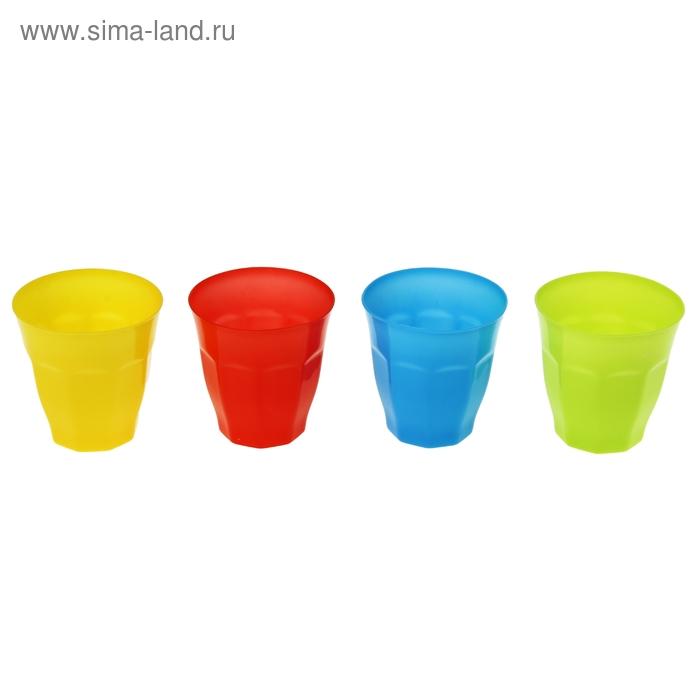 """Набор стаканов пластиковых 320 мл """"Леденец"""", 4 шт, цвет МИКС"""