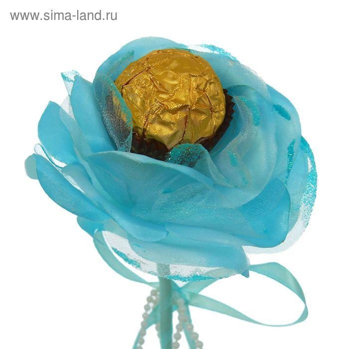 """Цветок-конфетница для букетов """"Роза"""" голубая с бантиком"""