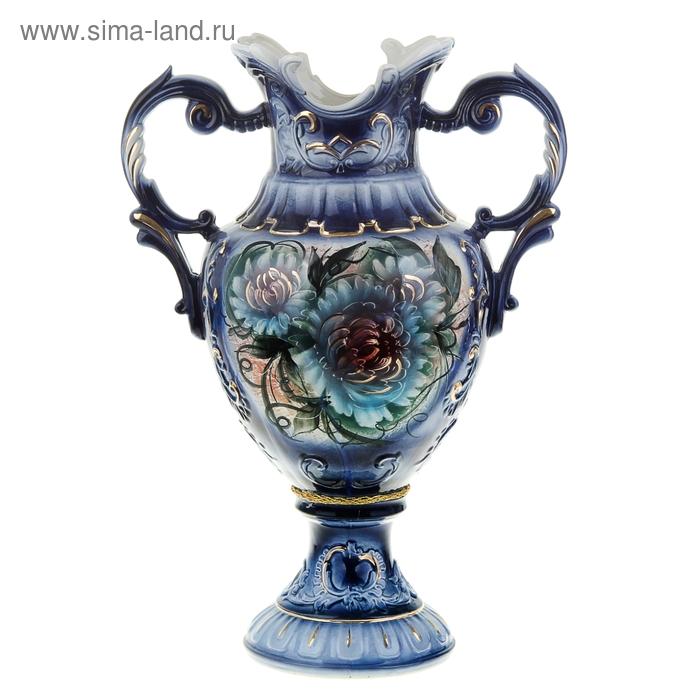 """Ваза напольная """"Астория"""" синие цветы, кобальт"""