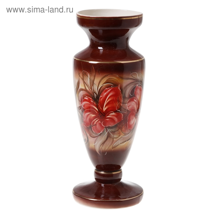"""Ваза напольная """"Диона"""" коричневая, цветы"""